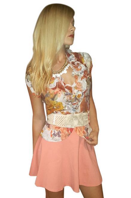 65% Cotton. Lightweight Orange One-Button Top comes with the Belt!