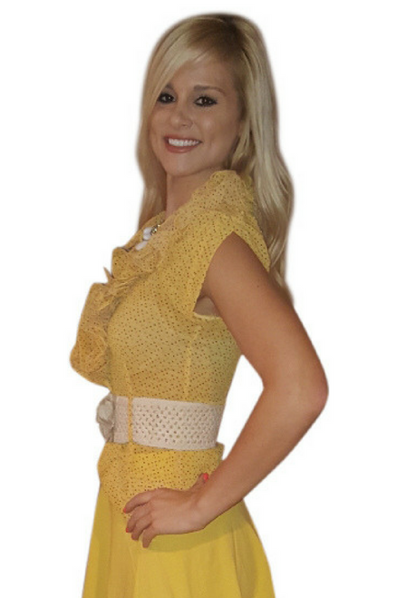 65% Cotton. Lightweight Yellow One-Button Top comes with the Belt!