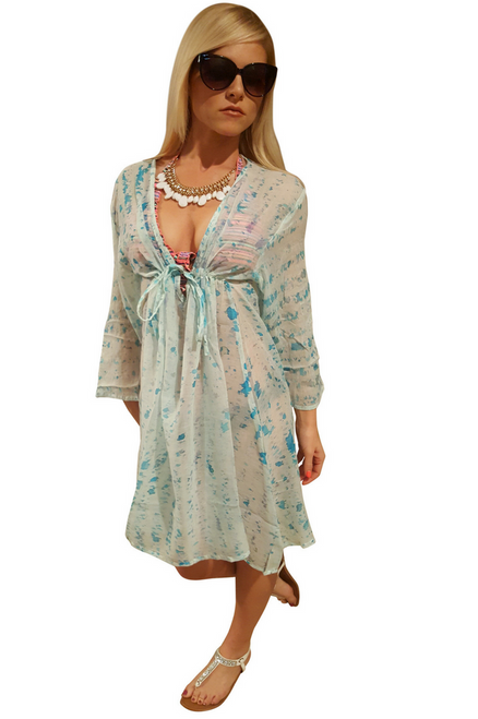 100% Cotton Boho Coverup Dress in Baby Blue/Green Tie Dye. One Size Fits Most.