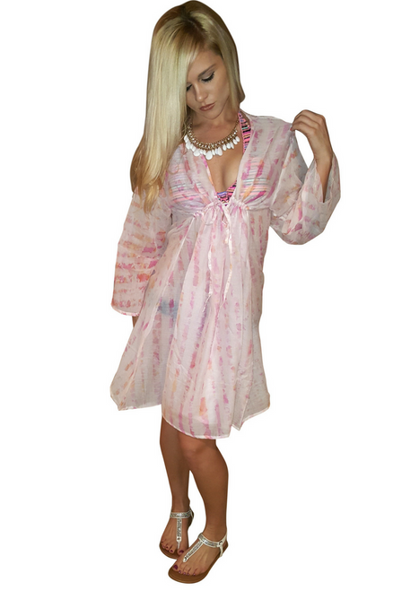 100% Cotton Boho Coverup Dress in Pink Tie Dye. One Size Fits Most.