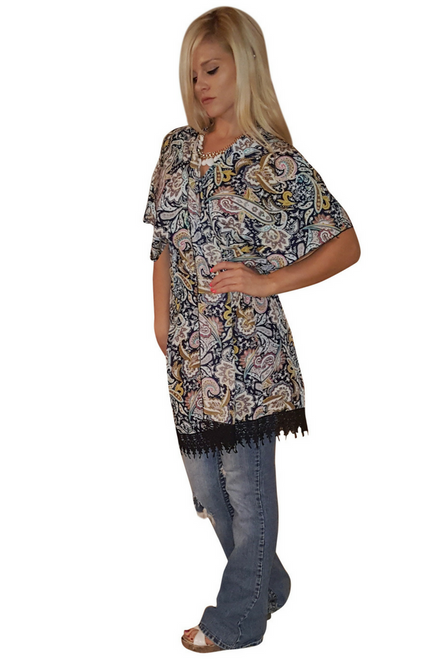 Navy Blue Paisley Boho Kimono Cardigan With Tassels. One Size (Up to Size 14)