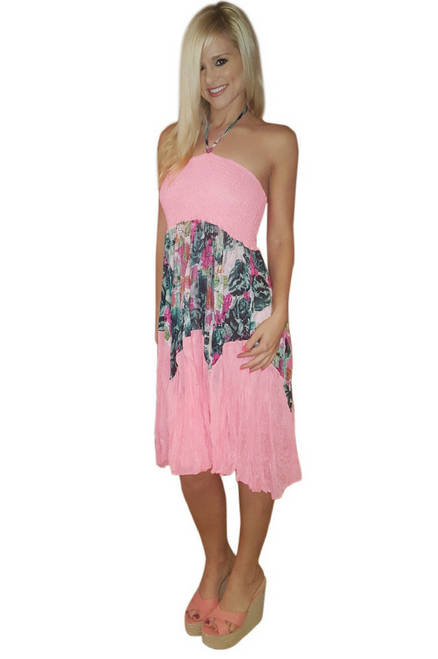 Boho-Chic Halter Dress is One Size Fits Most (Up to Size 18). Pink with Blue.