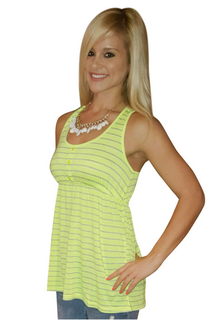 Neon Green Sleeveless Top with Grey Stripes!