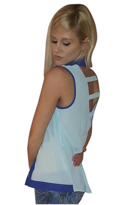 Sleeveless Buttondown Top with Cutout Back! Aqua Royal Blue.