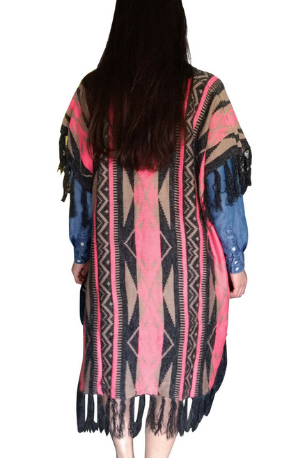Boho Tassels Poncho is a Boutique Item! Charcoal, Coral & Mocha Aztec.