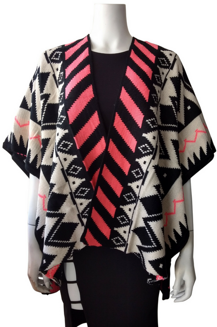 Boutique Sweater can be Worn as a Poncho or Cardigan! Cream, Coral, and Mocha Aztec Pattern.