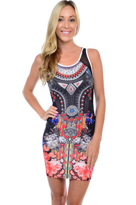 Black Printed Bodycon Dress with Sheer Accents.