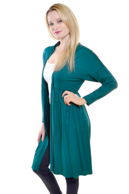 Lightweight Long Sleeve Flyaway Cardigan with Hoodie! Dark Teal.