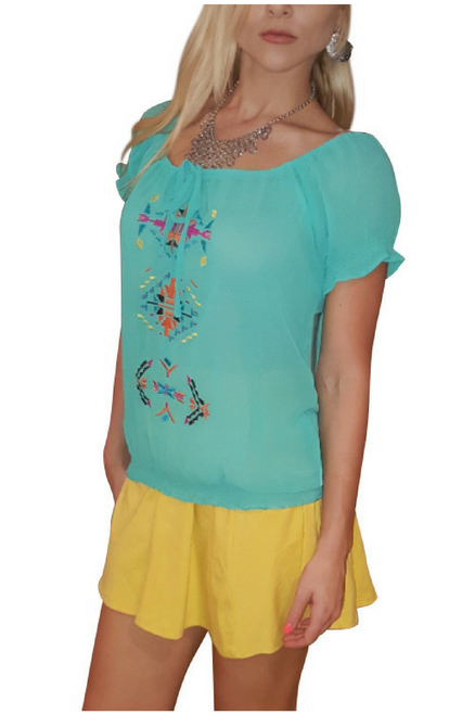 Boho Chic Top with Mint Embroidery & Banded waistline.