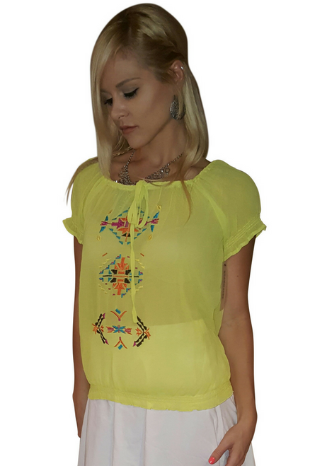 Boho Chic Top with Yellow Embroidery & Banded waistline.