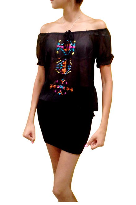 Boho Chic Top With Black Embroidery & Banded Waistline