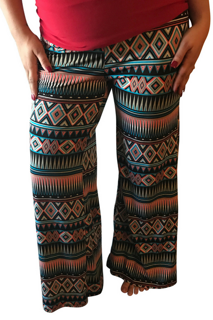 Peach & Blue Aztec Palazzos up to XXXL!