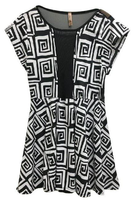 PLUS SIZE Geo Print Peplum Top In Black & White! Mesh Chest & Back.