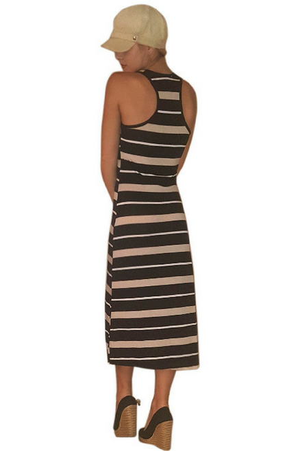 Black & Mocha Striped Maxi Dress is 60% Cotton!