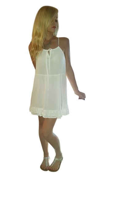 Ivory Boho Top with Floral Lace Back!