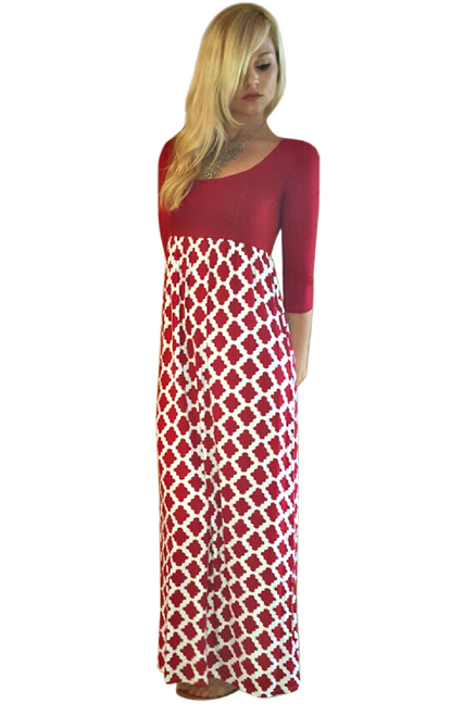 Red and White Geo Pattern Maxi Dress is 95% Rayon!