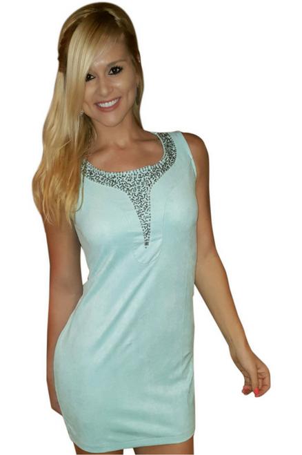 Mint Bodycon Dress with Jeweled Neckline & Zipper Back!