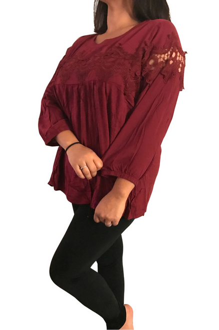 Plus Size Cotton Crochet Tunic Top. Burgundy.