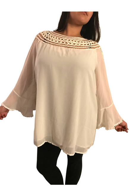 Plus Size Cream Top with Crochet Neckline & Boho Sleeves!