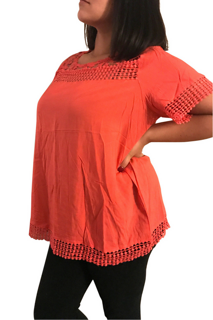 Plus Size Boho Top with Floral Crochet Accents. Peach/Coral.