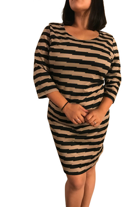 PLUS SIZE Brown & Black Chevron Striped Dress!