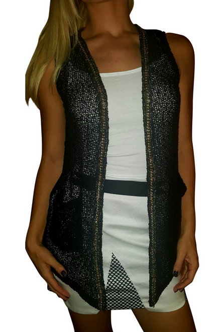 Black, Knit Open Cardigan with Gold Metal Chain Trim!