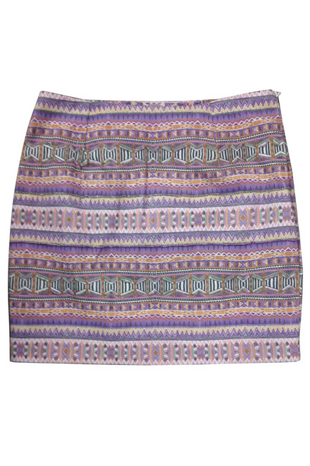 Cotton Pencil Mini Skirt in Lilac Aztec Pattern!