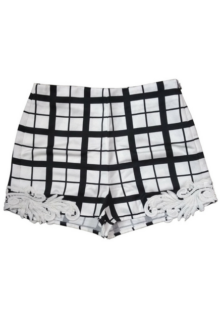 Black and White Hi-Waisted Shorts with Crochet Accents!