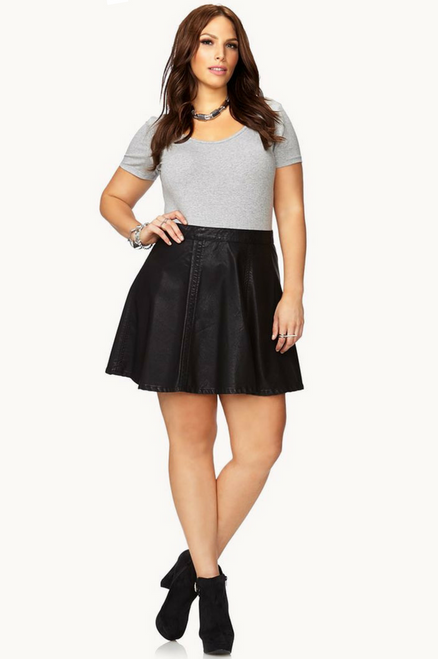 Plus Size Vegan Leather Black Skirt from Major Name Brand!
