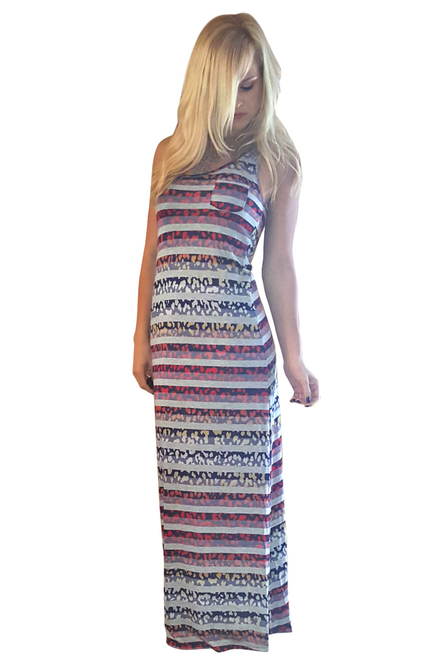 Multicolor Maxi Dress with Leopard & Stripes!