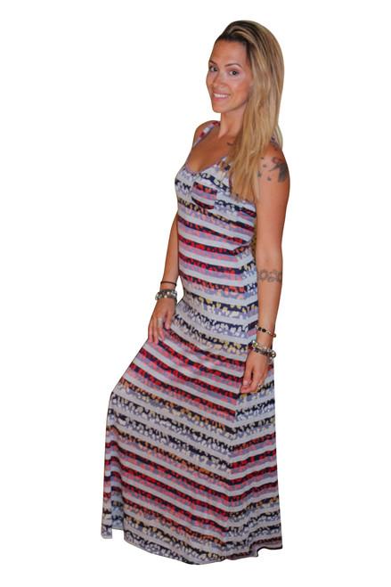 Multicolor Maxi Dress with Leopard & Stripes!
