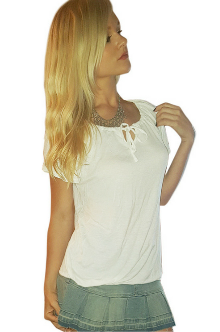 Solid White Major Brand Name Top with Peasant Ties!