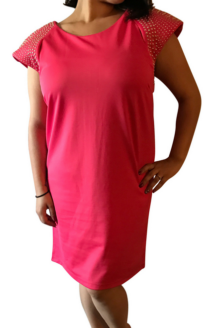 PLUS SIZE Dress from Amazing Brand: CAREN SPORT! Coral with Studs.