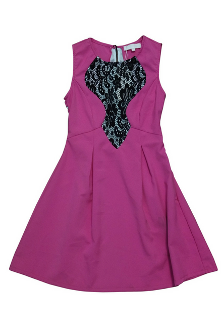 Fuchsia Skater Dress with Black & White Lace Accent.