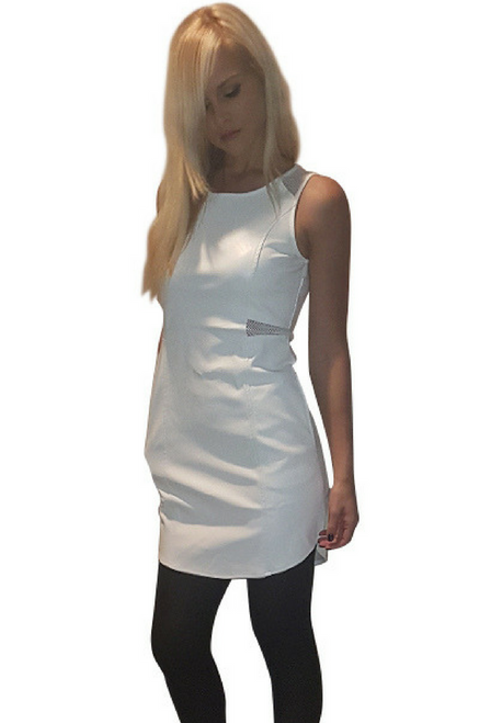 White Dress with Vegan Leather Panel and Sheer Accents!