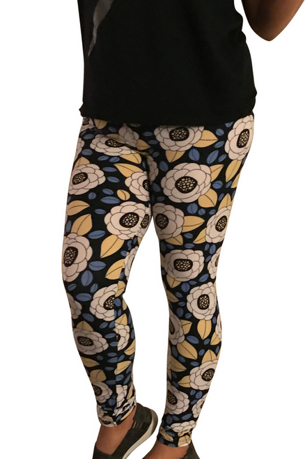 Long, Ankle Length Leggings. Blue With White Retro Flowers.