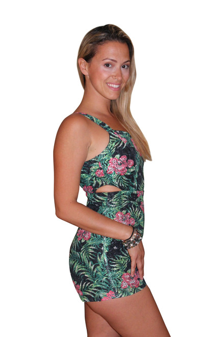 Green Floral Boutique Romper!