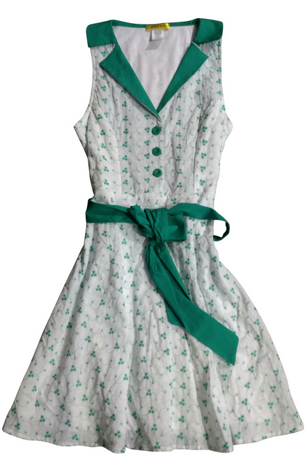 97% Cotton! Vintage Sleeveless White Dress with Green Floral!