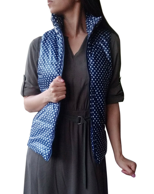 Spring Puffy Vest / Jacket! Navy Blue with Polka Dots.
