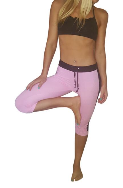 Pink Cotton Capri Sweatpants / Joggers with Mesh Panel Sides.