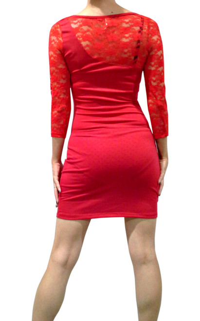 Red Bodycon Dress with Lace Shoulders & Sleeves.