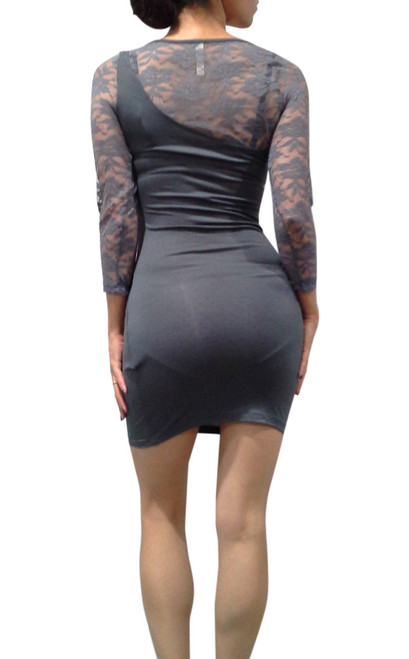 Grey Bodycon Dress with Lace Shoulders & Sleeves.