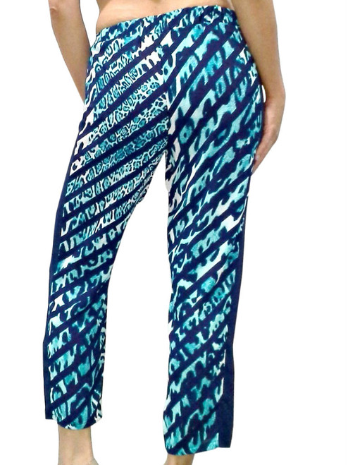 Harem Pants! Navy Blue with Teal Leopard Animal Print.