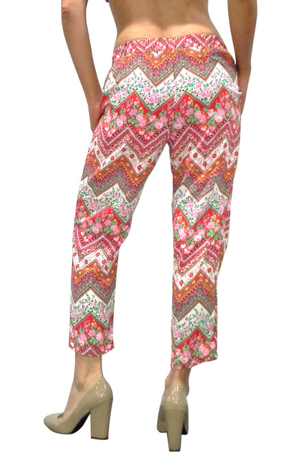 Harem Pants!  Cranberry Red Aztec/Tribal Print with Floral!