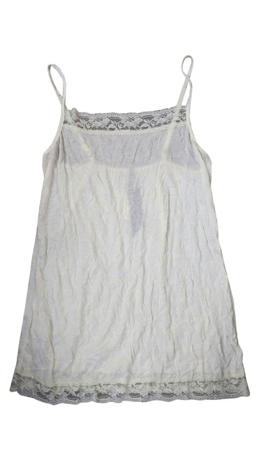 Cream White Plus Size Cami with Lace Trims with Adjustable Straps.