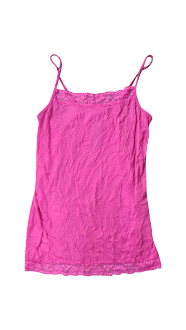 Pink Plus Size Cami with Lace Trims with Adjustable Straps.