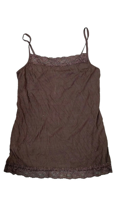 Brown Plus Size Cami with Lace Trims with Adjustable Straps.