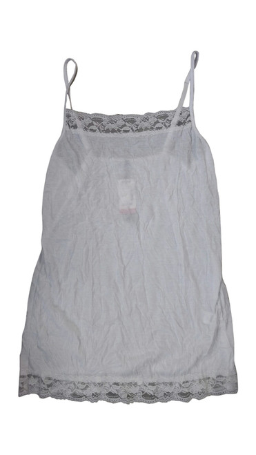 White Plus Size Cami with Lace Trims with Adjustable Straps.