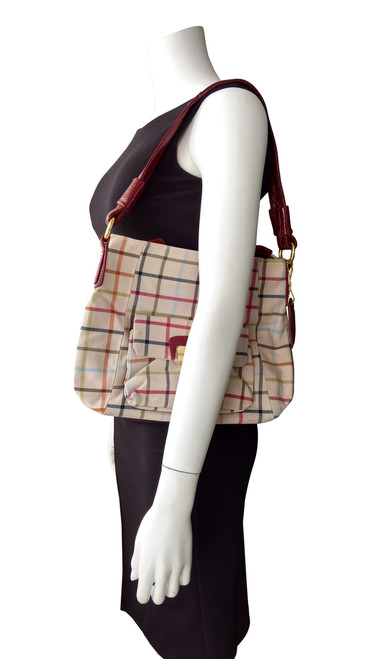 Large, High Quality Plaid Purse! Plaid with Red.