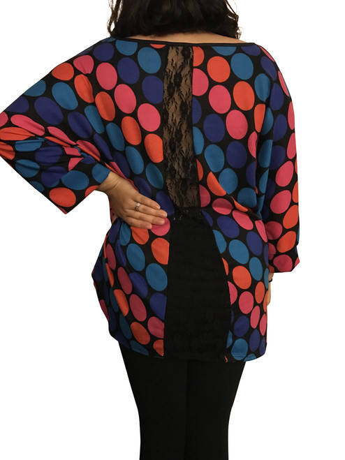 Plus Size Top with Sheer Cutout Back and Polka Dots.